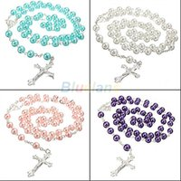 Wholesale Silver Bead Ball Necklace - Wholesale-Pendant Necklace Long Rosary Chain Imitate Pearl Ball Beads Silver necklace Drop Cross necklace Multi Colors 1J79
