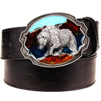 Wholesale Russian Leather Belt - Wholesale- Fashion New leather belt metal buckle Polar bear belts punk rock exaggerated russian style trend decorative belt for men gift