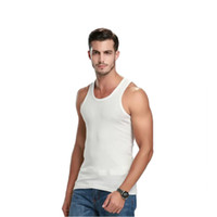 Wholesale Tank Top For Men Wholesale - Wholesale- Men Tank Top Pure colour Blending Tank Top For Men Body Building 2016 New Arrival High Quality