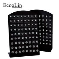 kristal taşlar toptan satış-72 adet 1 Takım Moda Sıcak Rhinestone Zirkonya Paslanmaz Çelik Kadınlar için Damızlık Küpe Ekran Panoları Toptan Takı Lots LR285 Ücretsiz Kargo