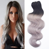 Wholesale Wholesale Gray Weaving Hair - New 3 Pcs 7A Human Virgin hair Ombre Brazilian Body Wave Grey Hair Weave Platinum Silver Gray Ombre Hair Extensions 3 Bundles