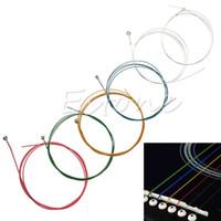 Wholesale Wholesale Ukulele Strings - wholesale 1 Set 6Pcs Rainbow Colorful Color Strings for Acoustic Guitar Ukulele Instrument