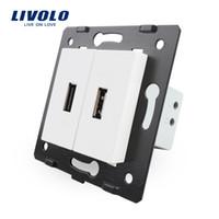 Wholesale Eu Socket Usb - Livolo EU Standard DIY Parts Plastic Materials Function Key,White Color, 2 Gang For USB Socket,VL-C7-2USB-11