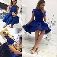 Wholesale Latest Party Wear Dress - 2018 Latest Royal Blue Mini Short Homecoming Dresses Long Sleeve Sweet 16 Graduation Dresses Zipper Prom Party Dresses Vestido De Fiesta