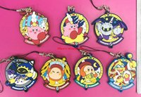 Wholesale Phone Charms Star - 40 pcs Genuine anime game Super Mario Star Kirby figures toy mix different Kirby Soft plastic figure phone strap pendant toys