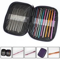 Wholesale Metal Knitting Needle Sets - 22pcs lot Multicolour Metal Aluminum Crochet Hook Knitting Kit Needles Set Weave Craft Yarn Stitches Needle Stitch YYA358