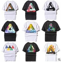 Wholesale Hi Neck Crew Shirt - Fashion Brand PALACE 24 Color T-shirt Triangle White Black Cotton T-shirt Man Hi-Street Skateboard Casual T-shirt Teenager Student Tees