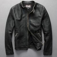 erkek cüzdan deri ceket toptan satış-Schotts Vintage Adam motosiklet deri ceket Inek Derisi hakiki deri erkek Ince kısa palto standı yaka artı 6XL