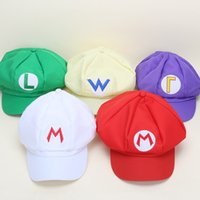 Wholesale Mario Hat Cartoon - 2017 New Fashion Super Mario Bros Adult Size Cosplay Baseball Cap Green & Red Women Men Fitted Hats Snapback Cartoon