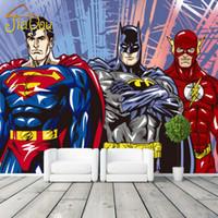 Wholesale Heat Movies - Wholesale- Custom 3D Mural Wall Paper Cartoon Classic Movie Hero Comics Photo Wallpaper Boys Kids Bedroom Living Room Home Decor Superhero