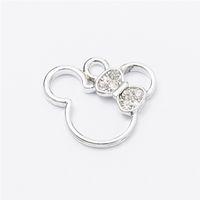Wholesale Mouse Pendants - Wholesale 40pcs Minnie mouse Enamel Alloy accessories White k jewelry pendants charms for bracelet necklace DIY jewelry making js056