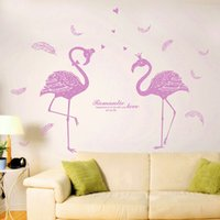 Wholesale Backdrop Vinyl Pink - Walls Decal For Children Houseroom Decorate Self Adhesive Removable Sweethearts Flamingo Wall Stickers Family Backdrop Decor Stick 3gf C R