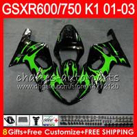 Wholesale Suzuki Gsxr Fairings Green - 8 Gifts 23 Colors green flames Body For SUZUKI GSX-R600 GSXR600 GSXR750 01 02 03 8HM40 GSX R600 R750 K1 GSXR 750 600 2001 2002 2003 Fairing