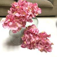 Wholesale Silk Bouquet Hydrangea Rose - Free Shipping 50pcs lot silk Hydrangea artificial flower Handmade silk Rose Flower Heads For Wedding Decoration flower-wall 16c