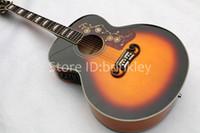 guitare électrique acoustique gratuit achat en gros de-Brinkley nouvelle arrivée Flame Maple solide top sunburst guitare acoustique avec fishman J200 guitare électrique, livraison gratuite