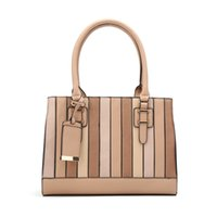 Wholesale Top Sale Bag - 2017 New Fashion Stripes Handbag Casual Patchwork Tote Brand Socialite Lady Shoulder Top-handle Bag Brown Gift High Quality On Sale WDS574