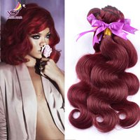 Wholesale Vip Hair Extensions - Top grade Vip beauty hair cheap 99j virgin brazilian body wave hair extension 3pcs wine red 99j hair burgundy weave 8-32inch 100g ps