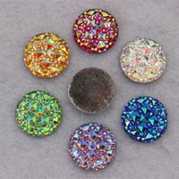 Wholesale Cabochon Resins - 100pcs 18mm AB Round Resin Rhinestone Star Cabochon Garment Accessories ZZ-34