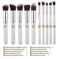 Wholesale Girls Facial Hair - 6 Styles Pro Cosmetic Makeup Brushes Tools 10PCS   Set Facial Foundation Eyeshadow Powder Blush Brush Lady Girls Make Up Accessories