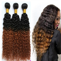Wholesale Two Toned Human Braiding Hair - Human Hair Weaving Braiding Weft 3 Pcs lot Afro Kinky Jerry Curly Two Tone Brazilian Hair Ombre Curly Weave 3pcs lot