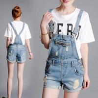 Wholesale Jeans Strap Shorts - Wholesale- Summer denim shorts strap loose Siamese Bib,women boyfriend cotton straight short overalls jeans plus size
