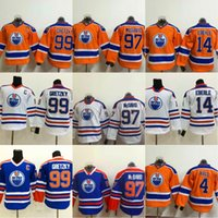 Youth Kids 97 Connor McDavid 99 Wayne Gretzky 4 Taylor Hall 14 Jordan Eberle Edmonton Oilers Cheap Stiched Retro Throwback Hockey Maglie