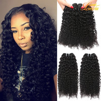 Wholesale can kinky hair weave extensions for sale - Group buy Factory Brazilian Human Hair Extension Unprocessed Brazilian Kinky Curly Hair Weave Bundles Natural Color Can Be Dyed Machine Double Weft