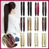 Wholesale Heat Resistant Synthetic Hair Extension - Wholesale-Drawstring Claw Ponytail Hair Extensions Heat Resistant Synthetic Fiber Hairpieces Straight 55cm 14 kinds Of Colours 150g 1pc