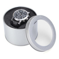 "Wholesale Round Metal Gift Box - Lowest Price Silver Round Metal Jewelry Watch Gift Box Display Case With Cushion 3.54x2.36"" Watch Organizer Box Holder glitter2008"