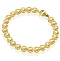 Wholesale south sea pearls rings - Charming AAA 9-10mm golden South Sea Shell Pearl bracelet 7.5-8 inch 14K Gold Clasp