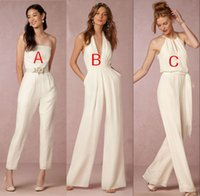 Wholesale Long Strapless Winter Dresses - 2018 jumpsuit bridesmaid dresses for wedding halter plunging v-neck backless wedding guest dresses party dresses formal gown