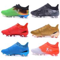 messi botas negras baratos al por mayor-2017 as 16 tacones de fútbol para hombre zapatos de fútbol negro Messi 16 + Pureagility FG botas de fútbol purechaos x 16 messi tacos sin cordones botas barato