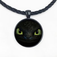 Wholesale Face Rhinestone Designs - Wholesale Glass Dome Pendant Necklace new design dragon trainer toothless face pendant necklace handmade unique jewelry