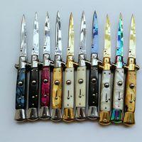 Wholesale Italy Models - 20 models Italy AKC 9 inch knife single action acrylic automatic knives pocket camping xmas gift knife for man 1pcs