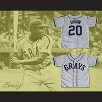 Wholesale Men S Button Down - Josh GIBSON #20 Homestead Grays Negro League Button Down Jersey Grey Men's Double Embroidery and Stitched Baseball Jerseys