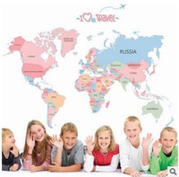 Wholesale Product Maps - wholesale Map of the World Wall Stickers Colorful Letter World Map Stickers Kid's Bedroom Wall Decoration Learning Toys Good Quality