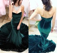Wholesale Turquoise Red Purple Dress - Sexy Sweetheart Turquoise Velvet Mermaid Evening Dresses 2017 Court Train Custom Made Formal Celebrity Prom Gowns Red Carpet Dress