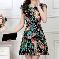 Wholesale Green Print Skirt - Summer Skirt Large Size Dress Short Sleeves Women Floral Print Dresses A Line Casual L XL 2XL 3XL 4XL 2017 New Fashion