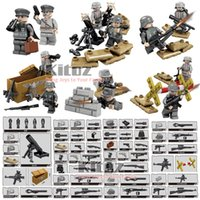 Wholesale Diy Weapon - Newest With DIY Stickers MOC 12pcs WW2 German Army Special Forces Military Building Blocks Bricks Set Mini Toy Figures with Weapons