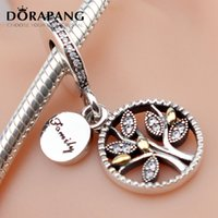 Wholesale imitation tree - DORAPANG Authentic 925 Sterling Silver Bead Charm Two-tone Tree Pendant Bead Fit European Women Bracelet Bangle Necklace DIY Jewelry 2014