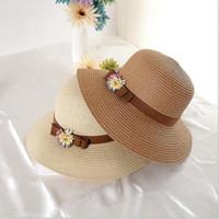 Wholesale Wide Brim Hats For Girls - Flowers bowknots straw hats for women summer beach hats multi color wide brim Sunbonnets girls beach Caps fashion accessories