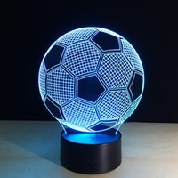 Wholesale Dropshipping Wedding - Soccer Football 3D Optical Illusion Lamp Night Light DC 5V USB Charging AA Battery Wholesale Dropshipping Free Shipping