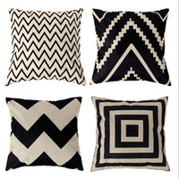 Wholesale Chevron Linen - Home Print Pillowcase Decor Cushion Ripple Chevron Wave Linen Cotton Cushion Cover Home Decor Square Throw Pillow Case Pillowcase 2017