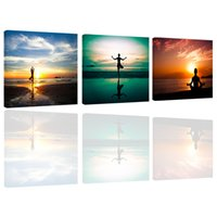 Wholesale sunset canvas art framed - Amosi Art-3 Pieces Wall Art A Person's Yoga Exercise Sunset Seascape Picture Painting Print Canvas for Home Decor(Wooden Framed)