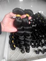 ingrosso capelli braziliani dell'onda naturale-LUMMY Fasci di tessuto brasiliano dei capelli non trasformati brasiliano peruviano indiano malese onda allentata estensioni dei capelli umani naturale BlacK