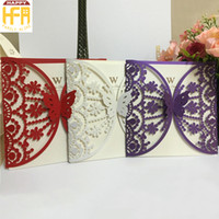 Wholesale Invitation Design Flowers - 15*15Cm High Quality Wedding Cards Invitation Card Wedding Invitation White Butterfly Flower Hollow Design Marriage Cards Bridal Shower