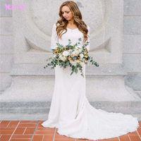 Wholesale Romantic Long Sleeves Wedding - Romantic White Sheer Lace Wedding Dresses 3 4 Long Sleeve Bridal Dress V Neck Zipper Back Plus Size Vestido de Noiva