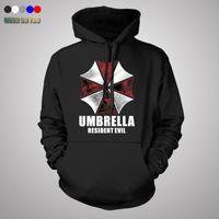 Wholesale Umbrella Jacket - Wholesale- Resident Evil hoodie Cosplay Costume Hooded Jacket Coat Fashion Umbrella Corporation LOGO Unisex Hoodies Sweatshirt Biohazard