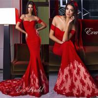 Wholesale fancy dresses short resale online - 2017 Hot Red Mermaid Prom Dresses Fancy Long Satin Illusion Mesh Neckline Short Sleeves Formal Evening Party Gowns BA4327