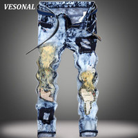 Wholesale Graffiti Skinny Jeans - Wholesale- VESONAL 2017 Graffiti Embroidery Patch Biker Hip Hop Swag Men Jeans Pants Fashion Casual Hole Ripped Denim Mens Light Blue VE122